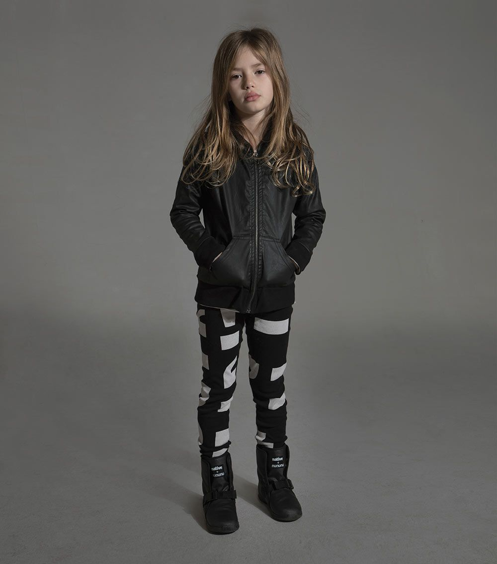 charcoal grey punctuation leggings for kids