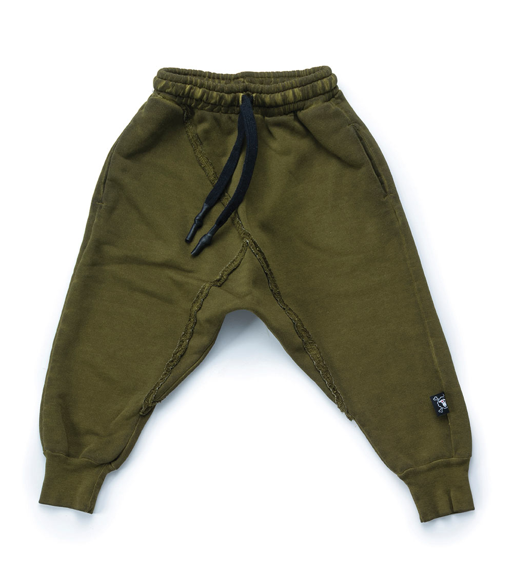 french terry raw pants