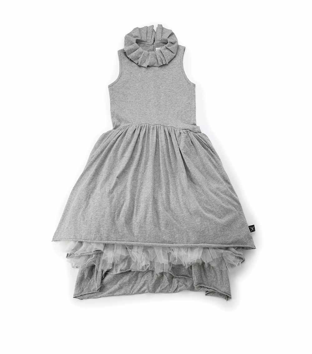 heather grey victorian dress for kids - NUNUNU WORLD