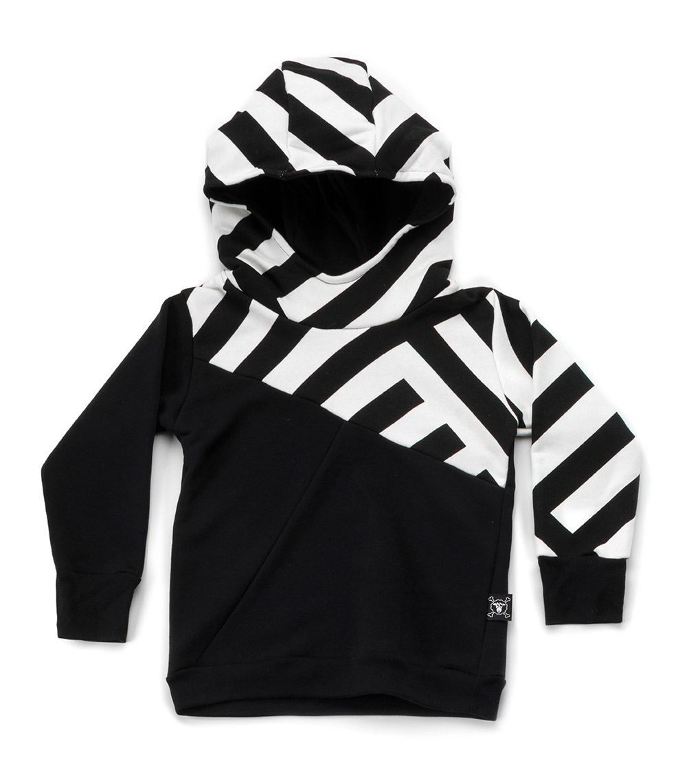 part striped hoodie