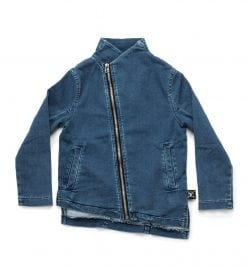 denim side zip jacket