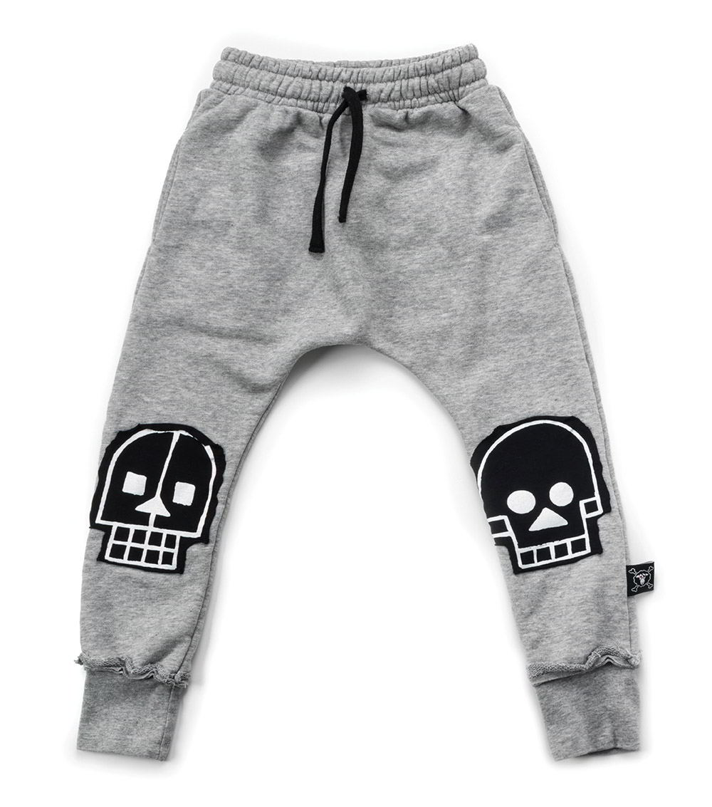 french terry skull robot patch baggy pants