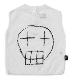 sketch skull patched voile shirt