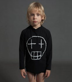 sketch skull long sleeved rashguard