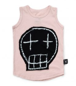 sketch skull patched tank top
