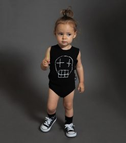 sketch skull tank top onesie
